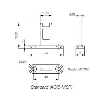 Atuador (lingueta), de aço inox, robusto fornecendo um dispositivo de intertravamento confiável para aplicações de segurança, com certificação internacional para atender as normas vigentes.